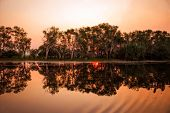Twilight sunset at the swamp at the outback in Northern Australia – wallpaper poster