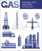 Design set of natural gas industry vector images
