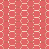 Vibrant Coral Red And Yellow Honeycomb Design. Seamless Vector Pattern. Great For Wellbeing, Spa, He poster