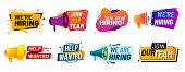 Join Our Team Banners. We Are Hiring Communication Poster, Help Wanted Advertising Banner With Speak poster