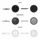 Isolated Object Of War And Ship Symbol. Collection Of War And Fleet Stock Vector Illustration. poster