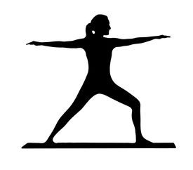 pic of workout-women  - a yoga silhouette of a young women against a white background - JPG
