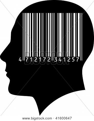 Head of a man with a barcode.