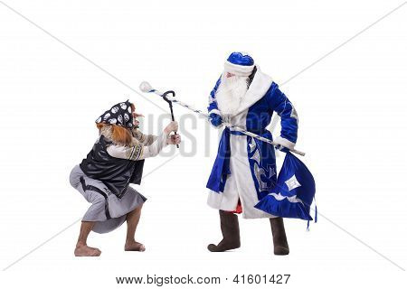 Angry Baba Yaga and Father Christmas