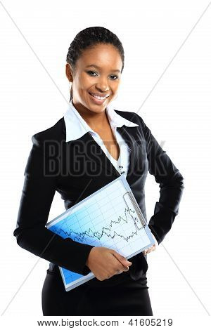 A happy young business woman holding a clipboard on white background