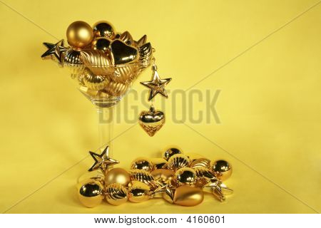 Golden Christmas Ornament Martini