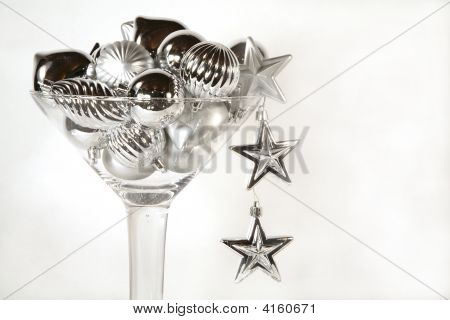 Martini Glass Of Silver Christmas Ornaments