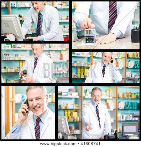 Collage of pharmacy related photos