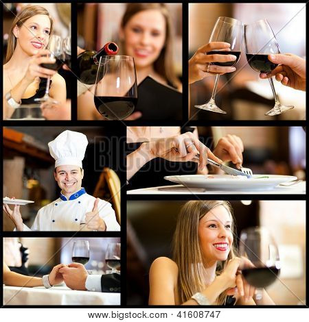 Collage of restaurant images