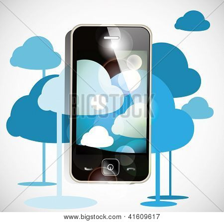 smartphone cloud computing. Eps10 .Image contain transparency and various blending modes