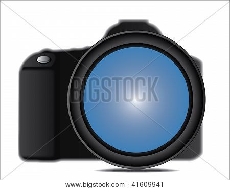 Close Up Illustration Of A Slr Camera Lens Attached To Camera Body Against A White Background