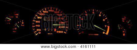 Car Dashboard Gauges In The Dark