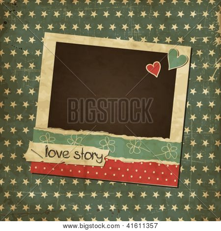 Scrap vintage card with photo frame, St.Valentine's Day photo frame with hearts