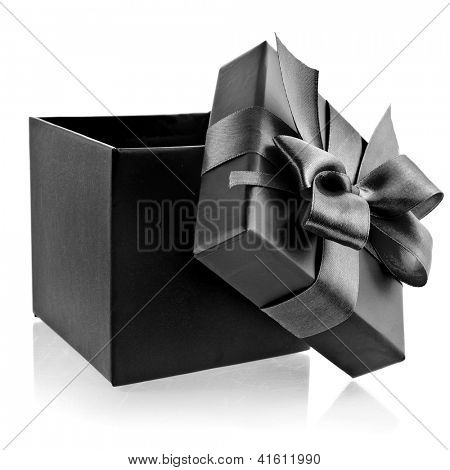 opened black box wrapping ribbon bow isolated on white
