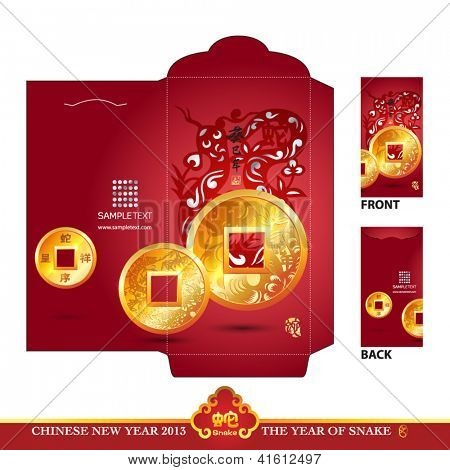 Chinese New Year Red Packet (Ang Pau) Design with Die-cut. Year of Snake. Translation: Kimi Snake Year