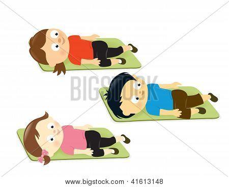Kids stretching on mats