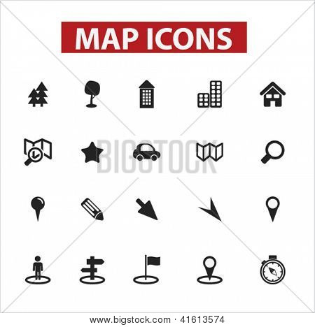 map icons set, vector
