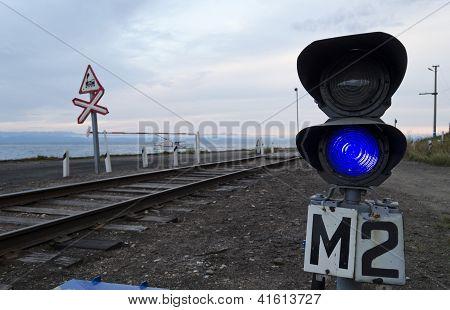 Baikal Railway. Baikal Port - harbor . Blue traffic signal prohibit maneuvers