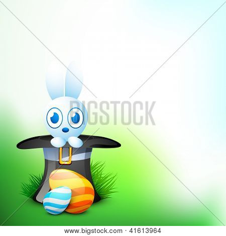 Cute Easter Bunny with beautiful painted Easter Eggs on grass, nature background. EPS 10.