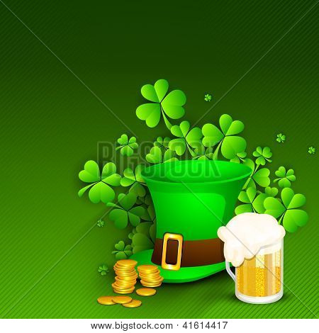 Saint Patrick's Day background or greeting card with Leprechaun Hat, gold coins, shamrocks and beer mug on green background. EPS 10.