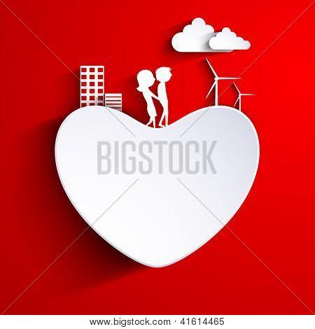 Beautiful St. Valentine Day fundo, presente ou cartão decorado com coração de papel. cou bonito