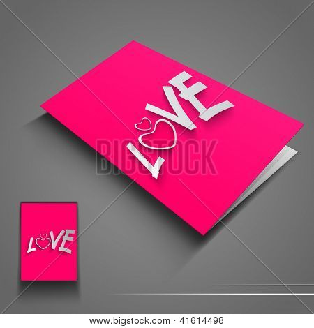 Saint Valentines Day flyer or banner with text Love on pink background. EPS 10.