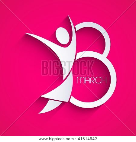 Happy Women's Day greeting card or background and space for your message on pink. EPS 10.
