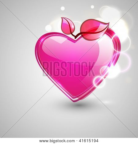 Happy Valentine's Day love background, greeting card with glossy pink hearts on grey background. EPS 10.