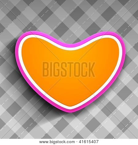 Beautiful Valentine's Day background, gift or greeting card with yellow paper heart on grey abstract background. EPS 10.