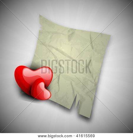 Happy Valentine's Day background with glossy red hearts and paper note on grey background. EPS 10.