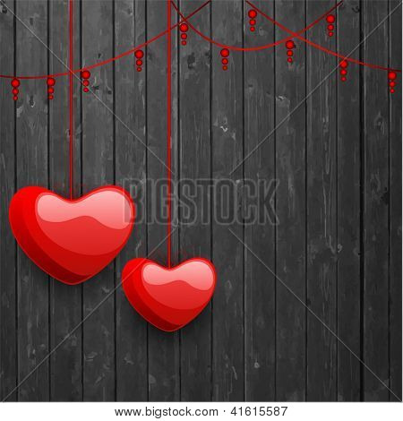 Happy Valentine's Day love background, greeting card with glossy hanging red hearts on grey  background. EPS 10.