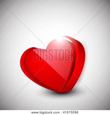 Happy Valentine's Day background with glossy red heart on grey background, 3D love concept. EPS 10.