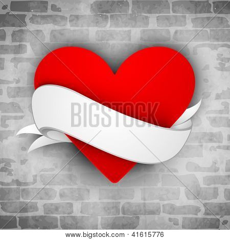 Beautiful St. Valentine's Day background, gift or greeting card with red paper heart wrap in white ribbon on grungy grey wall background. EPS 10.
