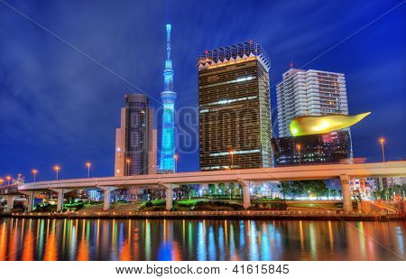TOKYO - JANUARY 6: Landmark buildings including Tokyo Sky Tree  along the Sumida RIver January 6, 2012 in Tokyo JP. The Sky Tree is currently the world's second tallest structure.