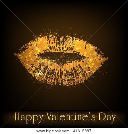 Happy Valentine's Day background, greeting card or gift card with lips on dark brown background. EPS 10.
