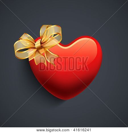 Happy Valentines Day background, gift car or greeting card, glossy red heart with golden ribbon on grey background. EPS 10.