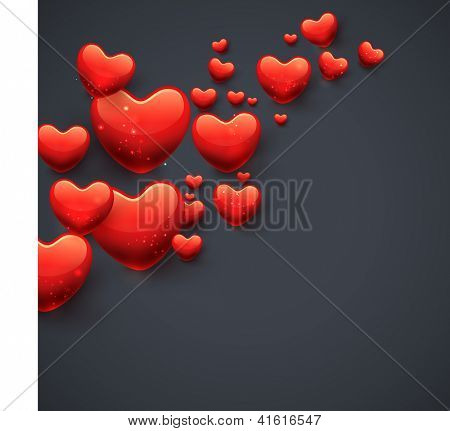Happy Valentines Day background, gift car or greeting card with glossy red hearts on grey background. EPS 10.