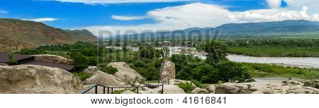 Mountain Panorama With Green Mountains And Blue Sky,kura River. Summer Landscape In Uplistsikhe, Cau