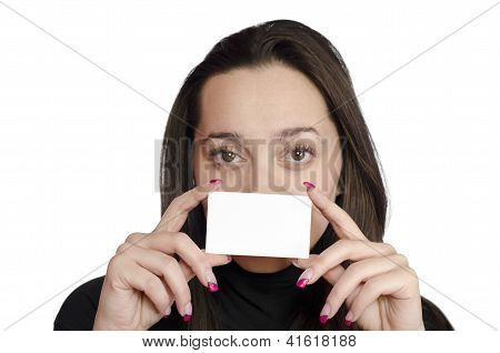 young girl holding a business card