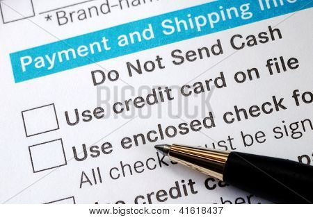 Make payment with Credit card or check concept online shopping
