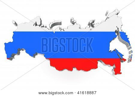 Map Of Russia In Russian Flag Colors