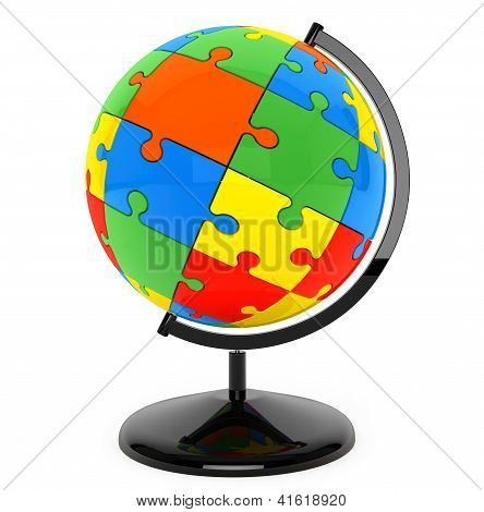 Puzzle Sphere As Globe