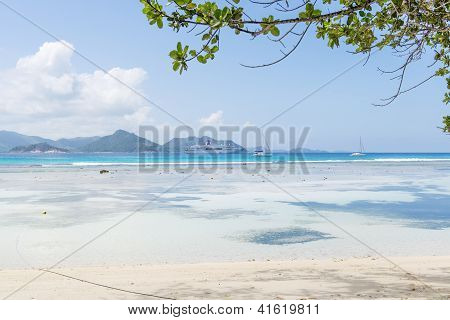 Praslin Island, Seychelles. The Island Of Dreams For A Rest And Relaxation. White Coral Beach Sand.
