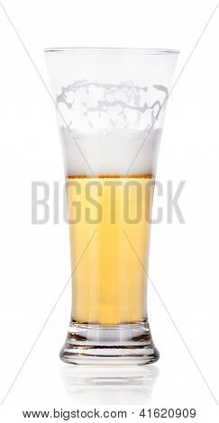 Frosty Glass Of Light Beer Set Isolated