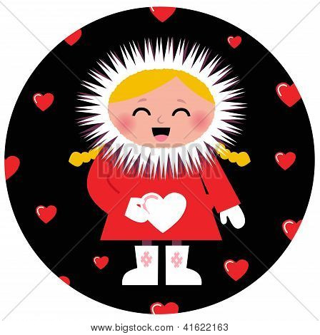 Cute Eskimo Girl Holding Heart Design