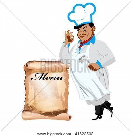 Funny happy Chef and menu