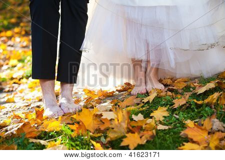 Bride And Groom With Bare Foots