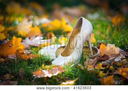 Bride's Shoes On Ground