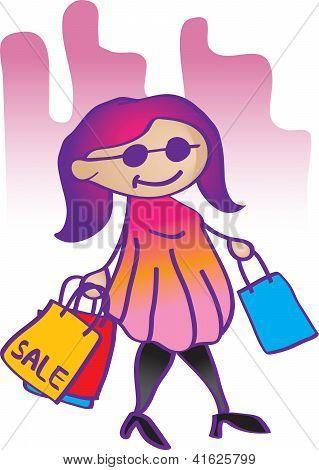 Illustration Fashion Girl Shopping