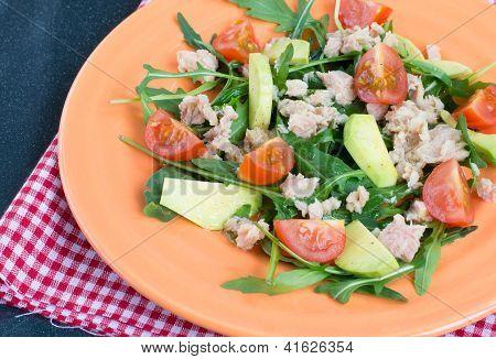 Salad With Tuna, Avocado And Tomatoes
